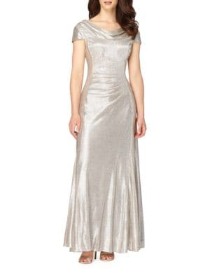 Ruched Metallic Gown by Tahari Arthur S. Levine