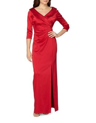 Satin Starburst Three-Quarter Sleeve Gown by Tahari Arthur S. Levine