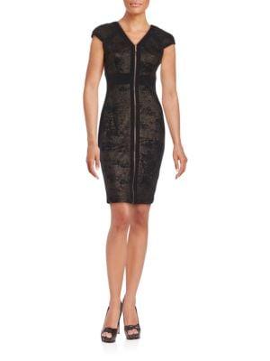 Zip Front Metallic Panelled Cap Sleeve Sheath Dress by JAX