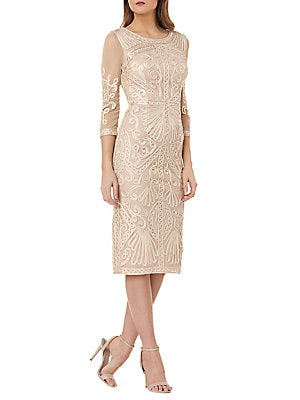ad60bc6d87f3c JS Collections - Soutache Trimmed Three-Quarter Sleeve Dress