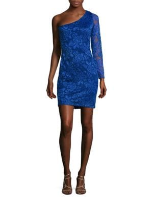 One Sleeved Lace Sheath Dress by Guess