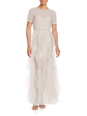 Tierra Short-Sleeve Tiered Chiffon Fit-and-Flare Gown by BCBGMAXAZRIA