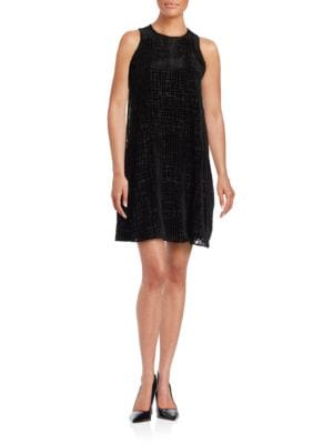 Velvet Geometric Sleeveless Dress by Calvin Klein