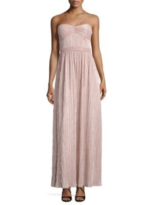 Metallic Pleated Halter Gown by Laundry by Shelli Segal