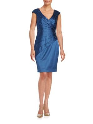 Tiered Satin Cap Sleeve Sheath Dress by Kay Unger