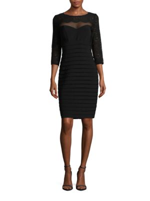 Three-Quarter Sleeved Lace Top Sheath Dress by Xscape