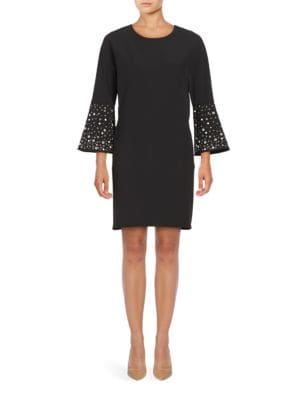 Photo of Belle Badgley Mischka Jagger Three Quarter Sleeve Embellished Shift Dress