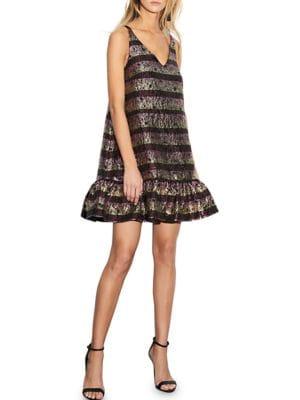Metallic Sleeveless A-Line Dress by Cynthia Rowley