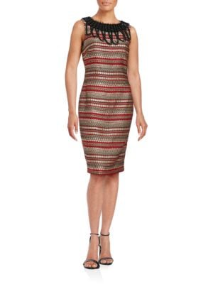 Sleeveless Embellished Sheath Dress by Badgley Mischka Platinum
