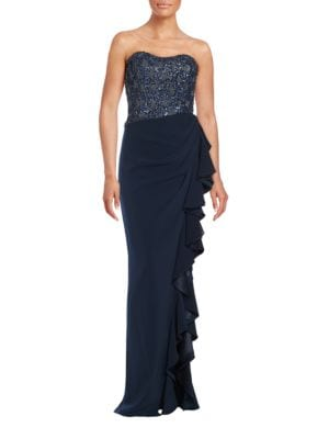 Embellished Ruffle Strapless Gown by Badgley Mischka