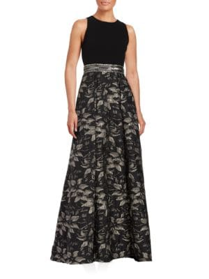 Beaded Floral Jacquard Gown by Carmen Marc Valvo