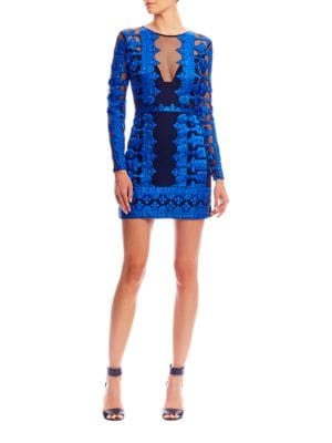 Embroidered Lace Dress by Nicole Miller