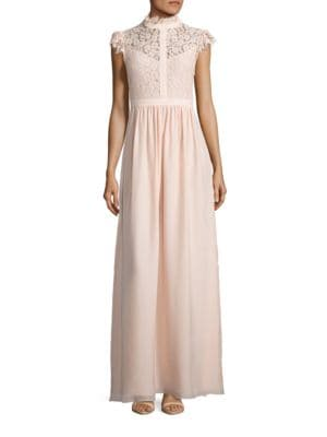 Cap Sleeve Lace-Trimmed A-Line Gown by Rachel Zoe