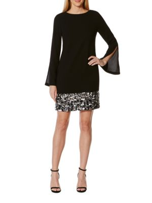 Embellished Bell Sleeve Shift Dress by Laundry by Shelli Segal
