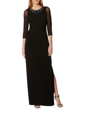 Three Quarter Sleeve Jewelneck Column Gown by Laundry by Shelli Segal