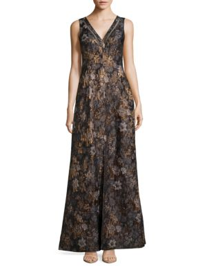 Metallic Floral A-Line Dress by Aidan Aidan Mattox