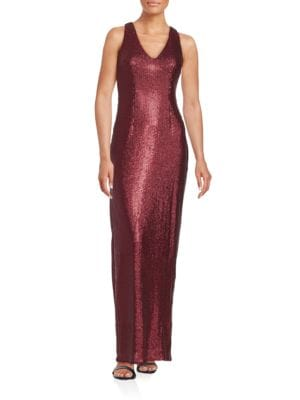 Sequined Sleeveless Column Gown by Aidan Aidan Mattox