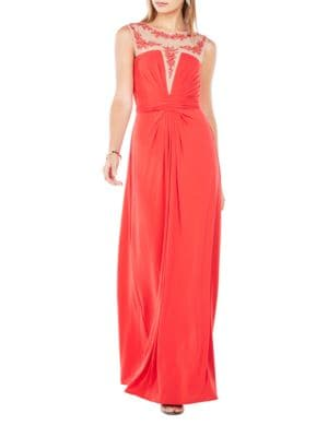 Eris Embroidered Jersey Gown by BCBGMAXAZRIA