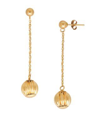 14K Yellow-Gold Chain & Ball Drop Earrings