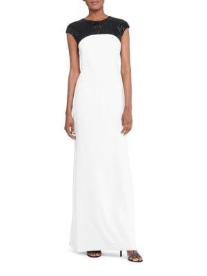 Sequined Yoke Cap Sleeve Gown by Lauren Ralph Lauren