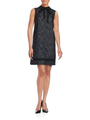 Sleeveless Collared Tweed Shift Dress by Karl Lagerfeld Paris
