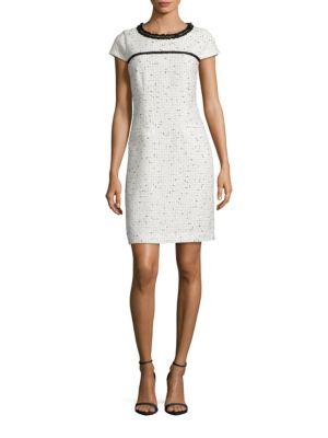 Tweed Contrast Sheath Dress by Karl Lagerfeld Paris