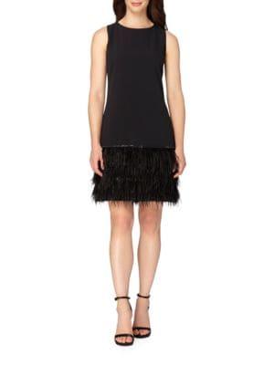 Feathered Hem Sleeveless Sheath Dress by Tahari Arthur S. Levine