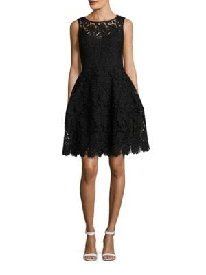 Sleeveless Lace-Overlay Fit-and-Flare Dress by Tommy Hilfiger