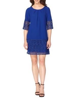 Lace Trim Solid Shift Dress by Tahari Arthur S. Levine