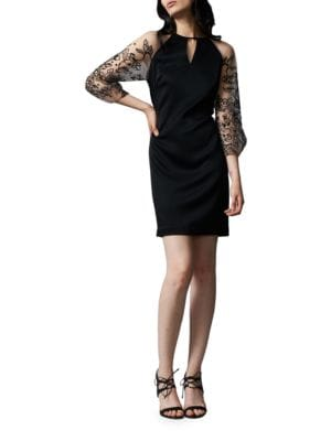 Sheer Floral Sleeve Dress by Kay Unger