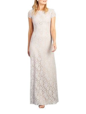 Cap Sleeve Lace Gown by Donna Morgan