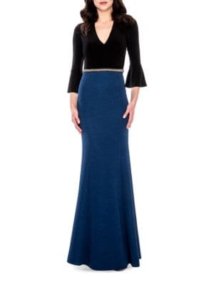 Three-Quarter Sleeved V-Neck Gown by Decode 1.8