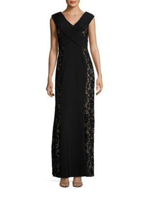Lace-Trim Sleeveless A-Line Gown by Decode 1.8