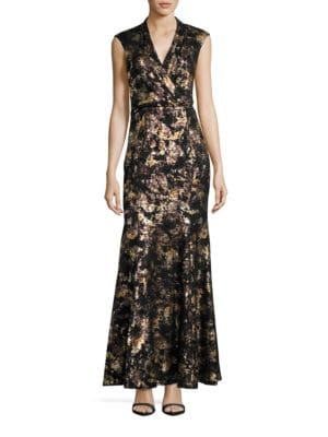 Cap Sleeve Metallic Lace Mermaid Gown by Decode 1.8