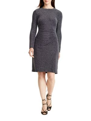 Long Sleeve Metallic Jacquard Sheath Dress by Lauren Ralph Lauren