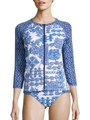 Stamped Medallion Front Zip Rashguard by Tommy Bahama