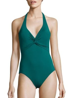 Pearl Solids Halterneck Twist-Front One-Piece Swimsuit by Tommy Bahama