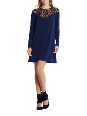 Lace Yoke Solid Shift Dress by BCBGeneration