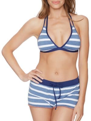 Chambray Cottage Removable Soft Cup Halter Bikini by Splendid