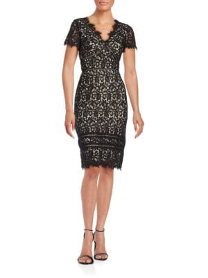 Short-Sleeve Lace Sheath Dress by Nue By Shani