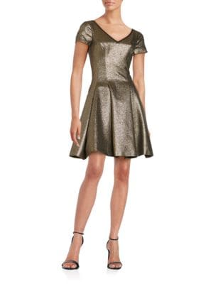 Short-Sleeve Metallic Fit-and-Flare Dress by Nue By Shani