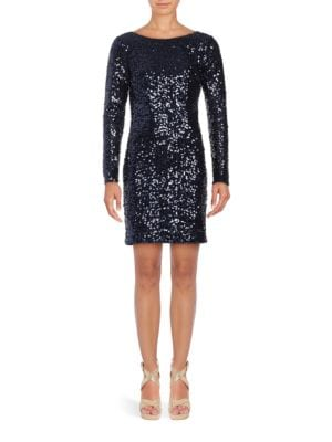 Long-Sleeve Sequined Sheath Dress by Jessica Simpson