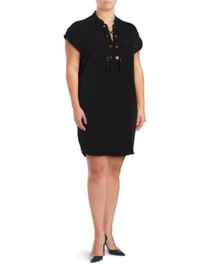 Short Sleeve Lace-Up Shift Dress by Calvin Klein Plus