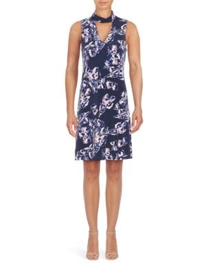 Printed Mockneck Choker Dress by Ivanka Trump