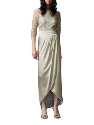 Three Quarter Sleeve Lace-Bodice Column Gown by Kay Unger
