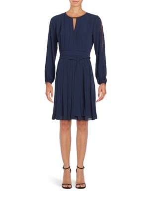 Long Sleeve Pleated A-Line Dress by Vince Camuto