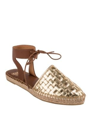 Vianne Metallic Woven Leather Espadrilles by Andre Assous