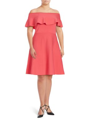 Ruffled Off-the-Shoulder Fit-and-Flare Dress by Eliza J