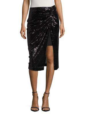 Sequined Mock-Wrap Skirt by Badgley Mischka