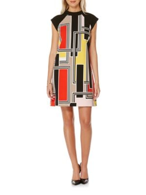 Cap-Sleeve Printed Shift Dress by Laundry by Shelli Segal